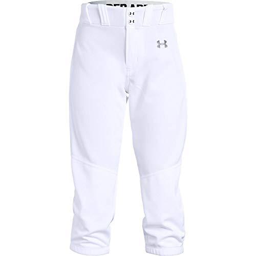 Under Armour Girls' Softball Pants, White (100)/Baseball Gray, Youth Medium