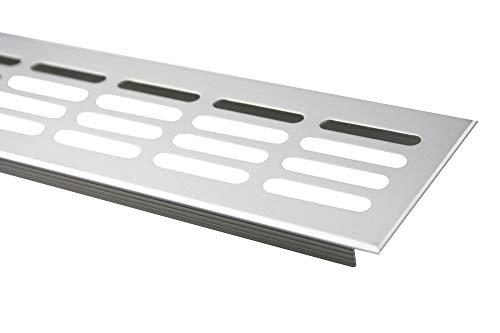 MS Beschläge Lüftungsgitter Stegblech Lüftung aus Aluminium 60mm x 400mm in verschiedenen Farben (Silber eloxiert - F1)