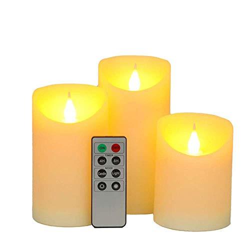 JHY DESIGN LED Kerzen 3er-Set Flammenlose Kerzen 3D Effekt Flackernde Batterie Kerze mit 8-Tasten Fernbedienung Timer Elektrische Kerzenlichter für Tisch Hochzeit Party Outdoor(Flammenförmige Spitze)