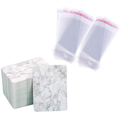 100 tarjetas de presentación de pendientes y collares con 100 bolsas de sellado automático, diseño de mármol, etiquetas de papel en blanco hechas a mano para pendientes, pendientes, collares, 5 x 7 cm