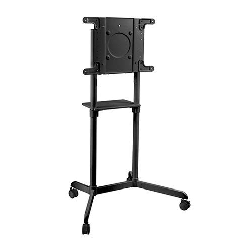 MPTTV11 Tilt Landscape to Portrait Rotation Mobile TV Stand for 37' to 70' Interactive Displays, Whiteboard with Shelf | Max 154 LBS | VESA 600x400 mm | Samsung Flipchart Flip 2 | Black Color
