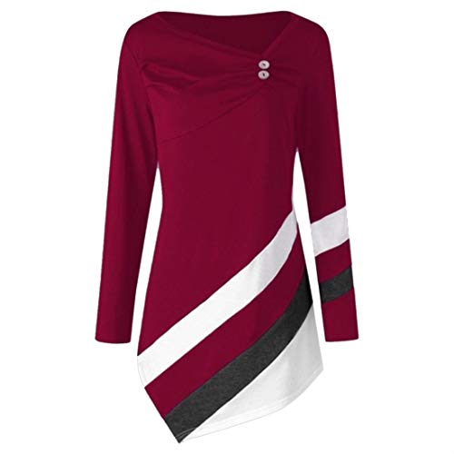 Women Blouse Elegant Buttons Irregular Hem Autumn New Long-Sleeve Fashion Casual Loose Comfortable Classic All-Match Vacation Women Tops Women Shirts Red_ XXL