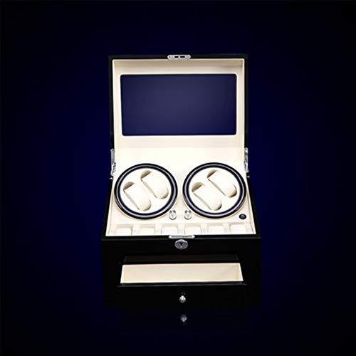 AWJ Automatische Houten Automatische Horloge Winder Quad Horloge Box met Stille Mabuchi Motor Box Opbergkoffer Organizer Cadeau, luxueus,1
