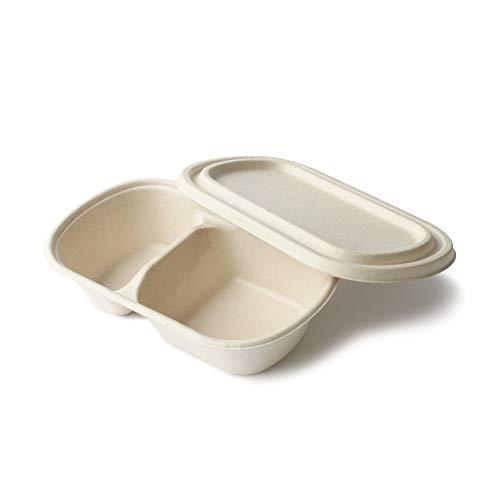 Contenedor desechable alimentos con tapa, envase comida para llevar, hecho con caña de azúcar, 100% Compostable y Biodegradable, 24x14x6cm, capacidad 800ml, paquete con 25 juegos (con compartimentos)