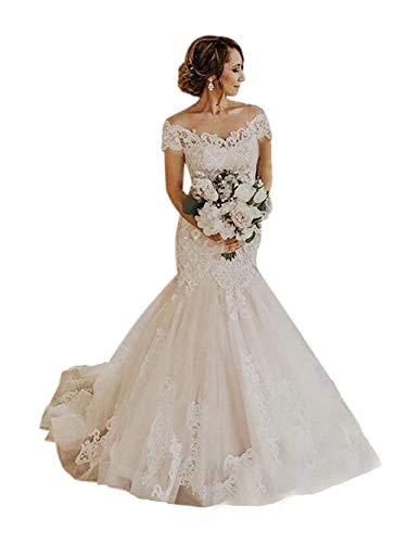 Women's Off Shoulder Mermaid Wedding Dresses for Bride Lace Appliques V Neck Bridal Gowns Ivory 2