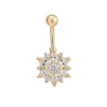 CEYIYA CZ Flower Belly Button Ring - Surgical Steel Black Vibrant Rhinestone Flower Navel Rings Plated in 18k Gold - Diamond Short Chrysanthemum Belly Piercing Jewelry