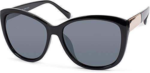 styleBREAKER gafas de sol de mujer sobredimensionadas con detalle de metal en las patillas, lentes de policarbonato y montura de plástico 09020099, color:Dorado-negro montura/Gris vidrio coloreado