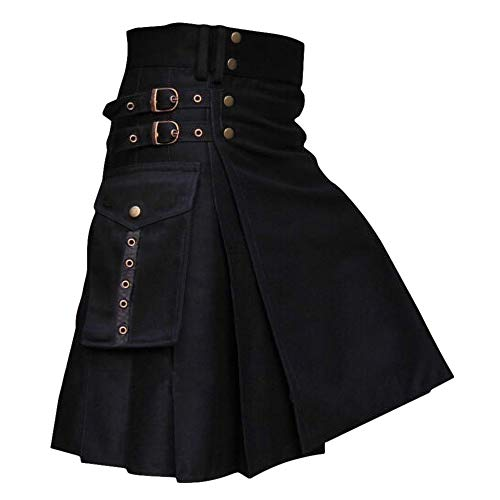 Gafeng Mens Kilt Utility Scottish Traditional Highland Solid Pleated Buckle Straps Costume Kilts with Cargo Pockets Black