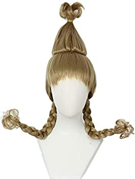 Linfairy Christmas Girl Wig with Wire Braids Halloween Cosplay Costume Wig for Women