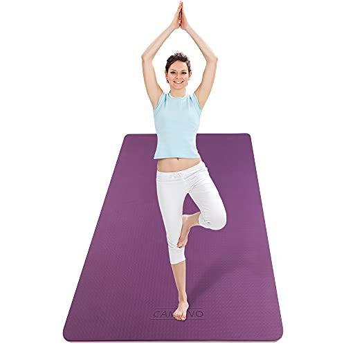 """CAMBIVO Extra Wide Yoga Mat for Women and Men (72""""x 32""""x 1/4""""), Non-Slip Exercise Fitness Mat for Yoga, Pilates, Workout (Purple Rose)"""