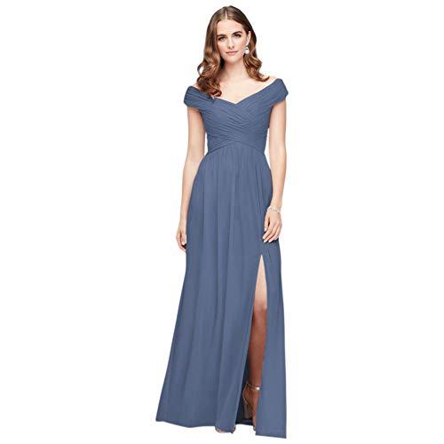 David's Bridal Crisscross Off-The-Shoulder Mesh Bridesmaid Dress Style F19951, Steel Blue, 2