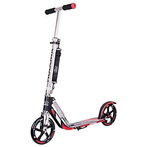 Hudora 14724 - Patinete plegable para adultos con 2 ruedas grandes de poliuretano para adultos de 205 mm, barra ajustable, cubierta reforzada, scooters para adolescentes de 12 años en adelante