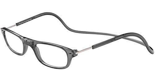 TBOC Lesebrille Lesehilfe für Herren und Damen – Dioptrien +2.00 Graue Fassung Brillen mit Stärke Faltbare Einstellbare Trend Frau Mann Senior Magnetverschluss Clip Alterssichtigkeit Presbyopie