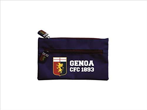 official product Genoa - Estuche con 2 cremalleras azules con tirador y logo engomado rojo y azul grifone 1893