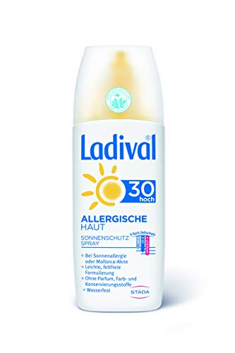 LADIVAL Allergische Haut Sonnencreme Spray LSF 30 - Parfümfreies, Sonnenspray für Allergiker - ohne Farb- und Konservierungsstoffe, wasserfest, 150 ml