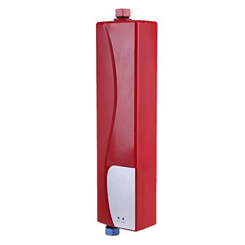 AYNEFY Pequeño calentador de agua eléctrico, 220 V, 3000 W, pequeño depósito de agua eléctrico, cómodo y rápido, se utiliza en el baño y la cocina (rojo)