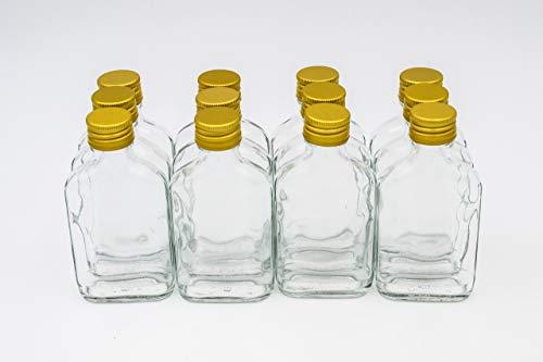 Flachmann Glas – 12 kleine Glasflaschen 100ml - Kleine Glasflaschen mit Schraubverschluss (28 mm, Gold), verwendbar als kleine Schnapsflaschen 100ml oder Likörflaschen 100ml