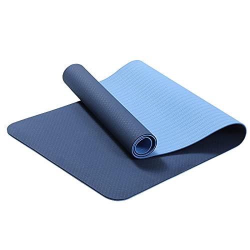 GWGW Almohadilla de Yoga Almohadilla de Fitness Antideslizantes de Dos Colores Almohadilla móvil de Salto de Saltos de la Cuerda de la Cuerda de la Cuerda de Yoga(183 * 61 * 0.6cm,Doble Color Azul)