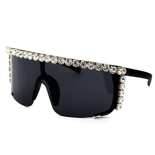 Qtlsgh Grandes Reflejos en Caja, Gafas de Sol, Gafas de Sol de Tinta de Moda para Hombres y Mujeres