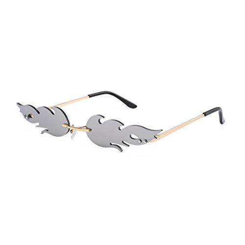NUOBESTY - Gafas de fuego (1 x 16 x 14 x 2 Gafas de sol de 7 cm, sin marco, para mujeres, hombres, gafas de sol de fiesta, de metal, sin marco, color rojo plateado plata 16 * 14 cm