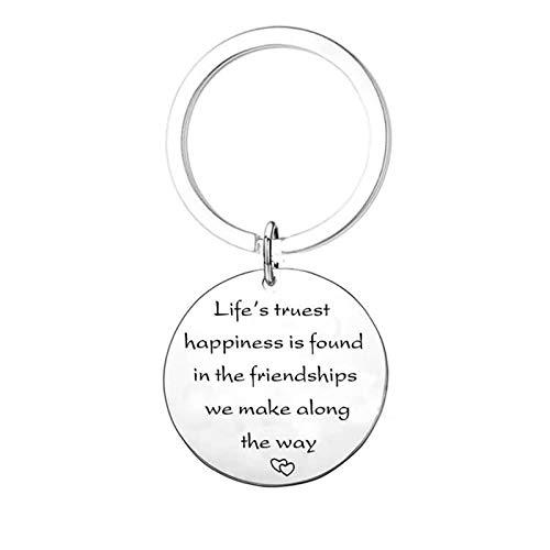 KnBoB Rund Tag Buchstaben Life\'s Truest Happiness. Schlüsselanhänger 30MM Edelstahl Anhänger Schlüsselband Fahrzeugschlüssel