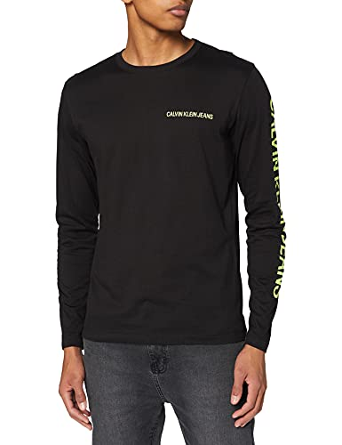 Calvin Klein Jeans Essential Instit LS Tee T-Shirt, CK Nero, L Uomo