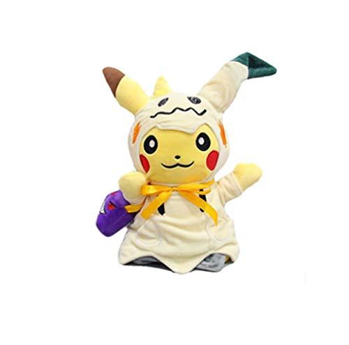 XINRUIBO Pokemon Halloween Geheimnis Q-Plüsch-Puppe Piqiu Cos Geng Ghost Face Mini Q Anime Kissen for Freundin 30Cm Pikachu Kuscheltier