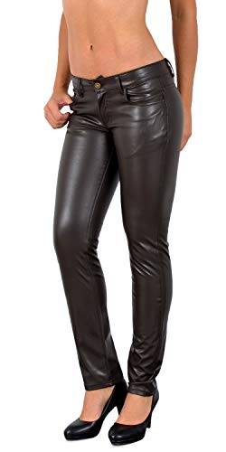 ESRA Damen Lederhose Damen Hose tiefer Bund in Leder Optik Straight-Fit Hüfthose für Frauen H12