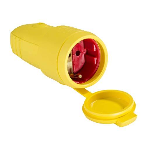 as - Schwabe Gummi-Kupplung 230 V / 16 A ohne Kabel – Schuko Kupplung mit doppeltem Schutzkontakt – Schutzkontakt-Kupplung auch für den Außenbereich geeignet – IP44  – Made in Germany – gelb I 62413
