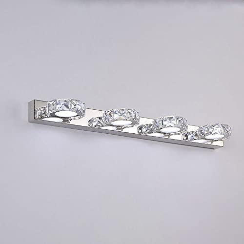 4-Cuarto de baño Vanity Lighting Fixtures CRISTAL WALL SCONCE, luz moderna de la pared de la pared de la pared sobre el gabinete del espejo, las luces delanteras del espejo del cromo LED para maquilla