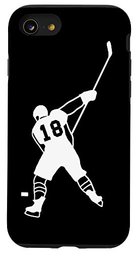iPhone SE (2020) / 7 / 8 #18 Number 18 Hockey Player Puck Black Background Case