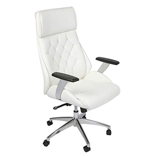 Koreyosh Ergonomic Office Chair, High Back Executive Adjustable Desk Chair Upholstered Swivel Chair Task Home Office Chair with Headrest, White