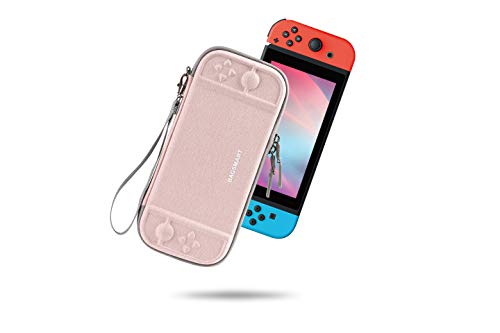 BAGSMART Carry Case Slim for Nintendo Switch, Portable Switch Case Travel with 10 Card Slots, Protective Hard Shell, Pink