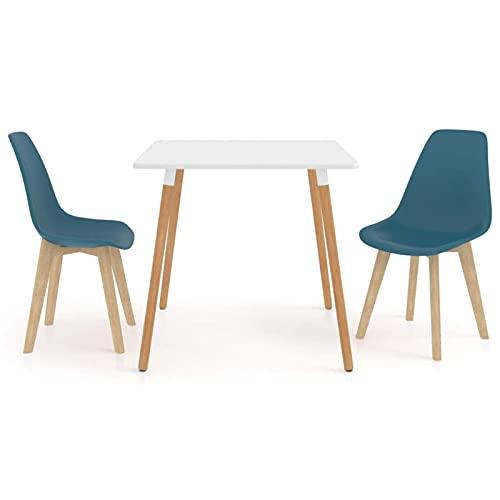 Set Tavolo da Pranzo e sedie da 3 Pezzi Set da Pranzo Tavolo Rotondo Sedie da 2 Pezzi con Gambe in Legno per Cucina/Bar/Ufficio Ristorante Lounge Turchese