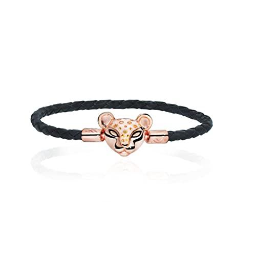 QAZWSXE, Pulsera de Plata Maciza 925 para Mujer, Pulsera de Cadena de Serpiente con Cierre de Barril de Flor de Margarita de Color Rosa Dorado