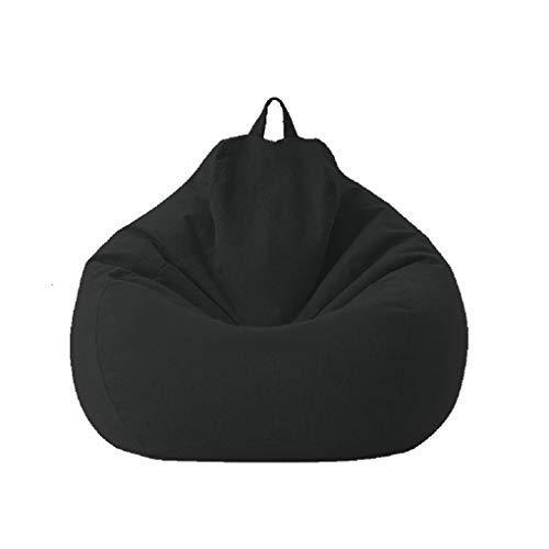 Sitzsack aus Baumwollleinen, faltbarer Leinensessel, Bean Bag Covers Ohne Füllung Indoor Bodenkissen Chair Sitzsäcke Möbel Kissen Sessel Sofa BeanBag (schwarz, 100 * 120cm)