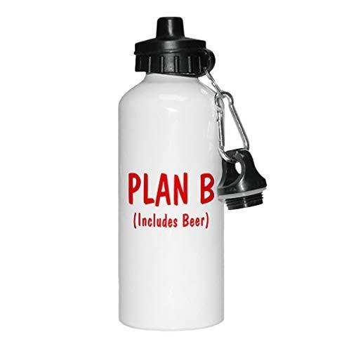 aqf527907 Rood Plan B (Inclusief bier) Nieuwigheid Wit Sport Waterfles Aluminium, School Waterfles, Verjaardag, voor mannen, voor vrouwen