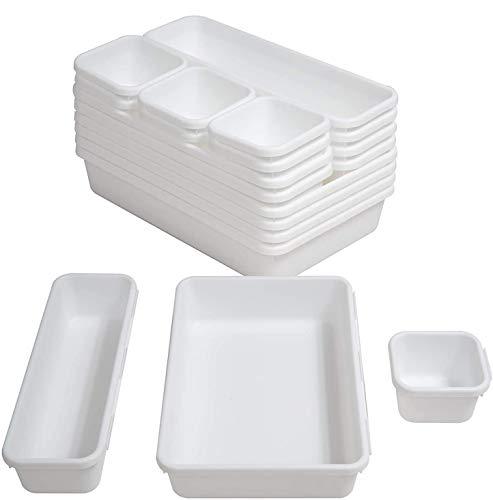 Albeads 16 Pack Interlocking Desk Drawer Organizer TraySeparators Storage Bins Container for Kitchen Bathroom Makeup Office Bedroom DresserWhite