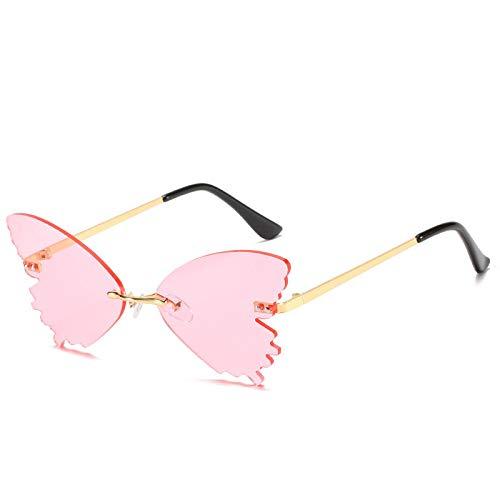 Gafas de Sol Sunglasses Gafas De Sol con Forma De Mariposa Hombres Mujeres Pasarela Gafas De Sol Divertidas Gafas De Metal Sin Marco 5