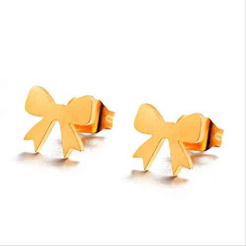 Boucle d'oreille Dangle Mini cadeau Bow Stud Boucles d'oreilles Or Argent Couleur Bow Small Ear Studs Pour Femmes Fille Minimaliste E021134D