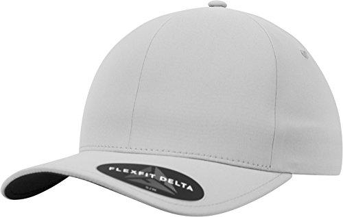 Flexfit Delta Baseball Cap, Unisex Basecap aus Polyester für Damen und Herren, ohne Naht, wasserabweisend, silver, S/M