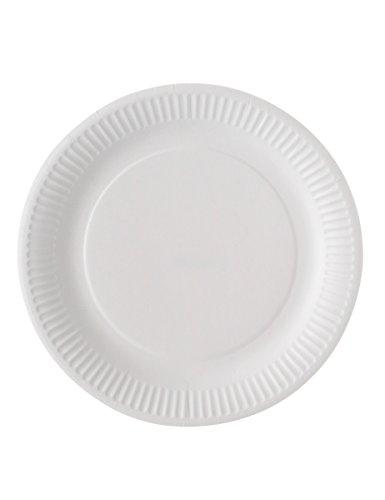 100 assiettes carton blanc biodégradable 23 cm - taille - Taille Unique - 235278