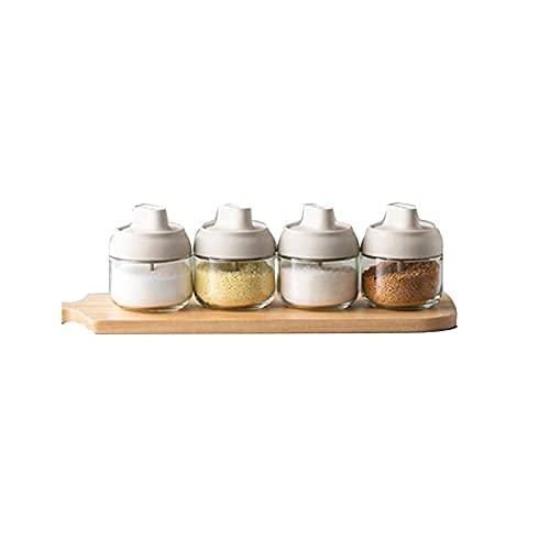 Spice Box Glass Spice Fles,met luchtdichte deksel en lepel,maat:8.6cm*10.6cm,4 stuks Kruiden potten WSYGHP (Color…