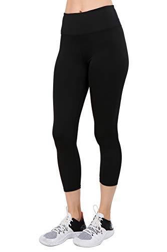 YELETE Women's Active Wear Capri Leggings w/Hidden Waistband Pocket Black Color Size S