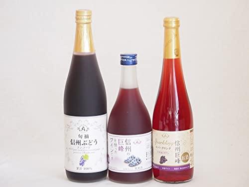ぶどう果汁100%ジュースと果物ワイン3本セット(信州ぶどうコンコード果汁100% 信州産100%巨峰スパークリング 信州巨峰ワインalc4%) 710ml×1本 500ml×2本