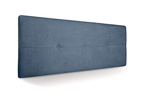 SUENOSZZZ - Cabecero de Madera Jazmin, tapizado Acolchado, en Tela Rio15 Color Azul Cabeceros Madera para Dormitorio   Cama Matrimonio   Cama Juvenil   Camas de 135 cm, 140 cm, 150 cm, 160 cm