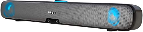 NPET CS30 Computer Speaker, Wired Computer Sound Bar, Stereo USB Powered Mini Soundbar Speaker Colorful RGB Light and Easy-Access Volume Control for PC Tablets Desktop Cellphone Laptop, Sliver