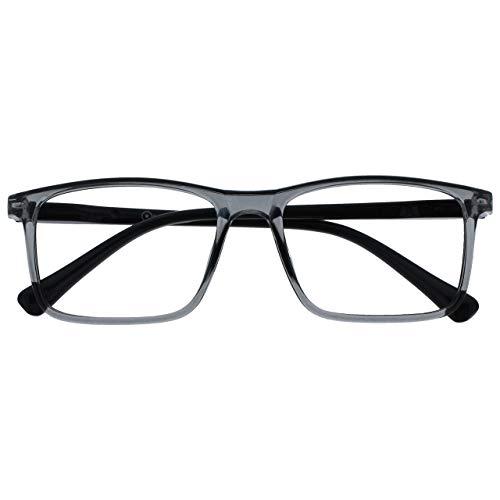 Opulize Ink Distanzgläser Kurzsichtig Kurzsichtigkeit Groß Grau Herren Damen Federscharniere M4-7 -1,00