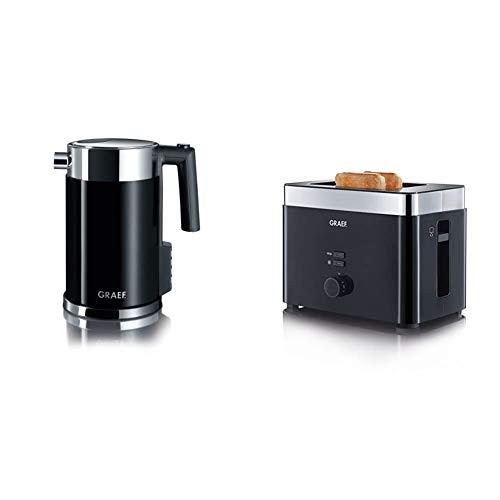 Graef Edelstahl Wasserkocher WK 702 mit Temperatureinstellung / Handbrüh-Taste für Filterkaffee / Edelstahl-Acryl, schwarz & Toaster TO 62, schwarz