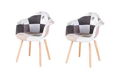 N/A Sillón de patchwork de dos piezas de tela de lino de ocio sala de estar esquina de recepción silla con respaldo y patas de madera natural estilos (gris)